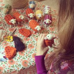 Mary Kilvert busy in the studio hand felting her flock of miniature collectable sheep