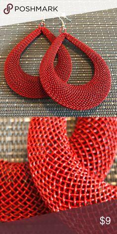 Red Mesh Wire Tear Drop Hoop Earrings NEW - Red Mesh Tear Drop Hoop Earrings w/ a silver French Wire Hook. Jewelry Earrings