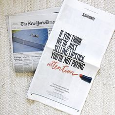 NY Times full page ad. This is BETTER Beauty and a CLEAN Revolution! Fashion Week statement to be proud of. Together we can make a difference in the beauty industry.one lipstick at a time. New York Times, Ny Times, Performance Makeup, Care For All, Makeup For Teens, Healthy Women, Healthy Skin, Pregnancy Workout, Beauty Industry
