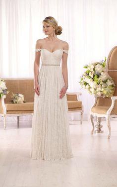 Essense of Australia D1982 available at Limelight Occasions. #essenseofaustralia #limelightoccasions #lacedress #sheathdress #offshoulder #unique #bridal #weddingdress