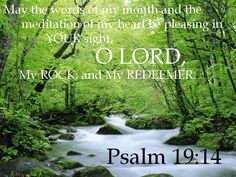 Psalms 19:14 KJV  Let the words of my mouth, and the meditation of my heart, be acceptable in thy sight, O LORD, my strength, and my redeemer.