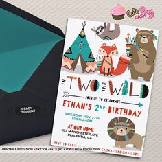 Two Wild Birthday invitations Tribal teepee Birthday