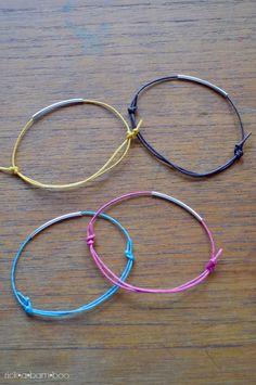 Noodle Bead Bracelet with Sliding Knot Tutorial | rickabamboo.com | #jewelry #diy #handmade