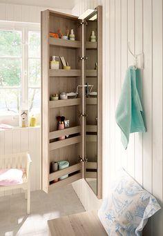 "Narrow bathroom cupboard ""Bel"" with integrated mirror by Burgbad"
