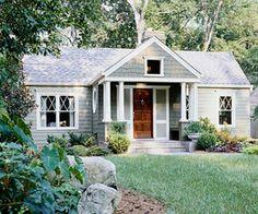 Light gray roof, wood door: Old house love