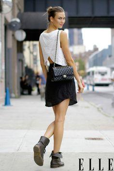 Bag + boots + skirt + top