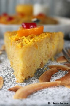 Fresh orange and nutty, toasted coconut combines surprisingly well in this syrup inundated celebration of radiant orange-ness. Coconut Tart, Toasted Coconut, Orange Syrup, Peach Aesthetic, Cornbread, The Help, Celebration, Pudding, Fresh