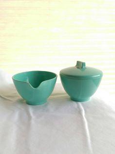 Vintage Melmac Sugar Bowl and Creamer Set by MidCenturyByDesign