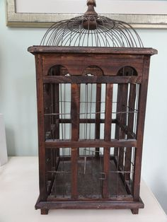 Vintage wire and wood bird cage
