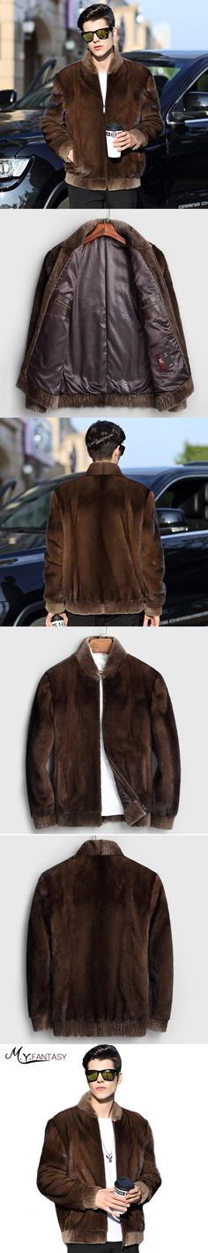 M.Y.FANSTY 2017 Winter Youth Coffee Real Fur Swan Velvet Man Coat Long Sleeve Mink Coat Stand Collar Business Casual Mink Coats