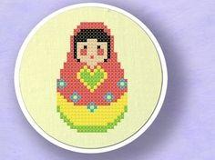 Matryoshka. Russian Doll Cross Stitch PDF Pattern by andwabisabi