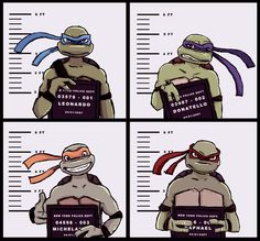 TMNT mugshot by sikuriina. >>  Poor Don's all ashamed and Mikey could care less.  lol