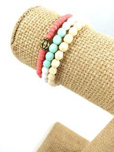 Beaded Bracelet Stack, Czech Bead Bracelets, Layer Bracelet, Stacker Bracelet, Bracelet Set, Gifts for Her, Spring Jewelry, Handmade Jewelry