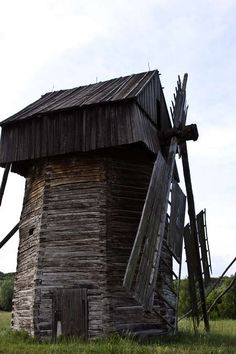 Old wooden windmill tower architecture