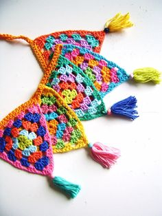 happy colourful crochet bunting flag garland by SillyOldSuitcase, $13.50