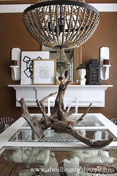 Brown dining room with natural, earthy elements #bloggerstylinhometours