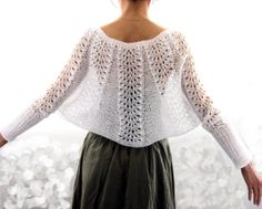 Elegant Hand Knitted Lace Bolero - Vest with sleeves , Capelet in White Mohair, SO beautiful! Lace Knitting Patterns, Knitting Designs, Knitting Stitches, Hand Knitting, Crochet Shawl, Crochet Lace, Lace Bolero, Knitted Cape, Crochet Woman