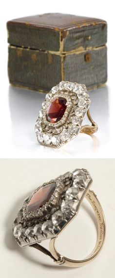 "An antique garnet and diamond ring, early 19th C. The central cushion-cut stone within a rose-cut diamond-set border and openwork scroll frame, the outer border of large circular-cut diamonds, the shank engraved: 'The Emperor Nicholas to Alan Stevenson 1839'. According to the 1957 letter accompanying this lot, the ring was given by the Emperor to Alan Stevenson, the famed Scottish lighthouse engineer, following ""the completion of the light house construction carried out by him in the year…"