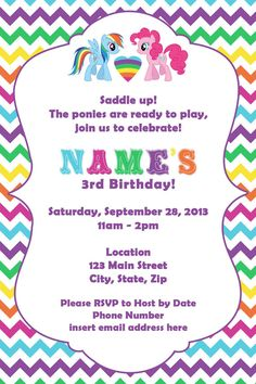 Colorful My Little Pony Invite by DTCNC on Etsy, $3.50 @Lisa Phillips-Barton Gurrola !!!!!