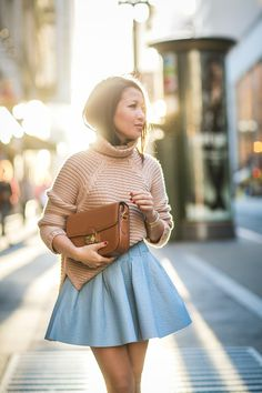 Chunky knit and blue flare Nyc Fashion, Korean Fashion, Womens Fashion, Street Fashion, Winter Looks, Autumn Winter Fashion, Spring Fashion, Winter Chic, Wendy's Lookbook