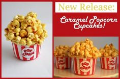 Caramel Popcorn Cupcakes - These would be cool for a circus themed birthday party. Popcorn Cupcakes, Butter Cupcakes, Caramel Cupcakes, Cupcake Cookies, Movie Cupcakes, Circus Cupcakes, Desserts Caramel, Delicious Desserts, Dessert Recipes