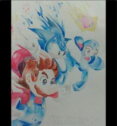 My gf did this watercolor of Smash 4 and I thought I would share it.