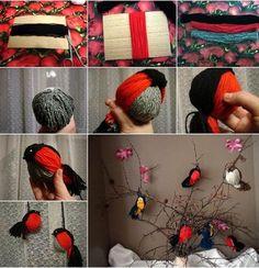 Con lana hacemos pajaritos. _objetos decorativos-2