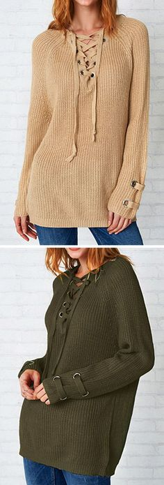$29.99~ Short Shipping Time! Easy Return + Refund! Feeling as fresh as you look with the lace up sweater! This sweater won't press your buttons rather it will impress them!! This slightly long sweater is so soft and warm! Find your favorite at Cupshe.com !