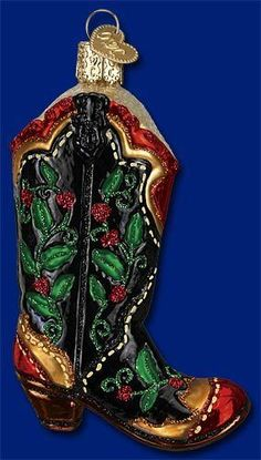 *Holly Berry Cowboy Boot* [32161] Old World Christmas Glass Ornament- NEW