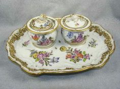 Antique Hand Painted Ludwigsburg Porcelain Two Pot Inkwell - Dresden Flowers