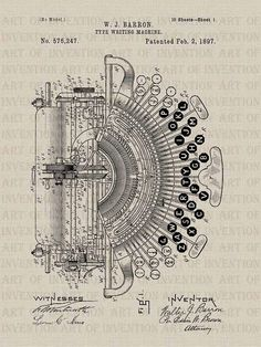 FUNKY TYPEWRITER 247 vintage patent illustration by ArtofInvention