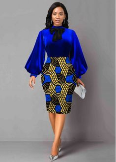 Short African Dresses, Short Gowns, Latest African Fashion Dresses, African Print Fashion, African Dress Styles, Latest Dress For Women, African Attire, Color Blue, Long Sleeve