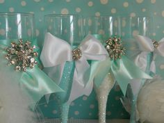 Cute for bridesmaid gifts at head table. Weddings Champagne Glasses Champagne Flutes Toasting by KPGDesigns Tiffany Theme, Tiffany Party, Tiffany Wedding, Tiffany Blue, Bling Wedding, Diy Wedding, Dream Wedding, Wedding Ideas, Bling Party