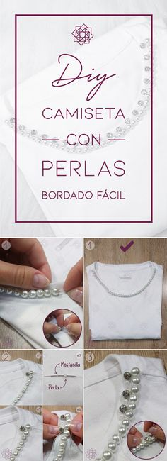 DIY: Camiseta con perlas | Bordado fácil – Nocturno Design Blog Design Blog, Pattern, Girls, Fashion, Beauty, Pearl Embroidery, Hand Embroidery Designs, Sewing Patterns, Sewing Lessons