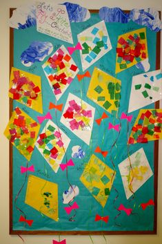 paper kite craft-  Just glue colored tissue paper onto the kites.. Give them a tail..