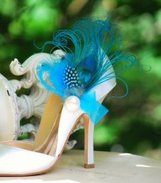Shoe Clips Turquoise Peacock Feather Ivory Pearl Bride Bridal Bridesmaid Couture Derby Spring Statement Feminine Edgy Stunning. $59.00, via Etsy.