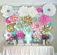 This paper flower back drop is just so pretty! Loving the colors!! See more party ideas at CatchMyParty.com