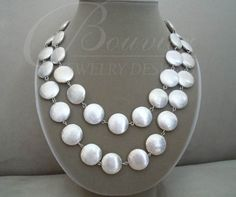 Glacier  Brushed Silver Double Strand Coin by BouvierJewelry