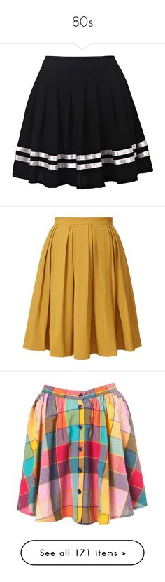 """80s"" by eveymeg ❤ liked on Polyvore featuring skirts, bottoms, saias, jupe, knee length pleated skirt, pleated skirt, faldas, mustard, orla kiely and brown skirt"