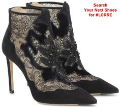 Jimmy Choo's Lorre boots are a typically luxurious design, owing to their velvety suede fabrication and black lace trim. Point toes and stiletto heels magnify their sultry mood, while beaded flower appliqués prove, yet again, why Jimmy Choo is our go-to for elegant after-dark footwear. Lace Ankle Boots, Platform Ankle Boots, Evening Shoes, Jimmy Choo Shoes, Skinny, Luxury Shoes, Designer Shoes, Stiletto Heels, Zapatos