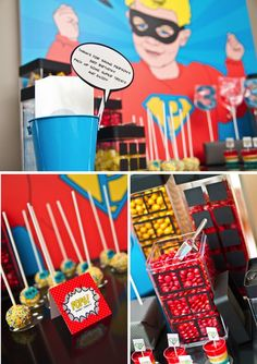 Super hero party - some simple ideas.  Put black on glass vases for windows, cover boxes with paper and black for buildings.