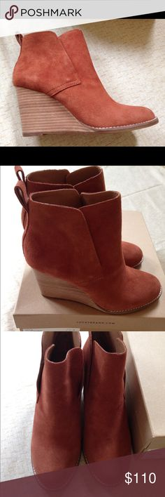 """Lucky Brand - Yoniana Booties-Size-6.5 New w/ box New with box. Great deal! Questions please ask.   Buttery-soft oiled suede shapes a sleek ankle bootie designed with an almond toe and stacked wedge heel.  - Round toe - Pull-on style - Stacked wedge heel - Approx. 3.75"""" shaft height - Approx. 3.25"""" heel  - Suede upper Lucky Brand Shoes Ankle Boots & Booties"""