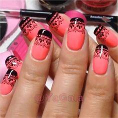 """""""Lace Nails! - - By: @yagala - - #nailart #nailvideos #nails #nailpolish #nailtutorials #nailsart #nailsartvideos #nailartvideos #video #nailartvideo…"""""""