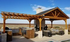 open gable red cedar pavilion with attached pergola / posts tall / Stanton, TX The leader in ready-to-assemble pergola kits shipped direct to you. Cedar, redwood, and fiberglass pergola kits both free-standing and attached