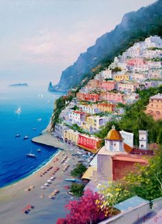 Italian painting seascape Amalfitan Coast Positano n1 by Modiarte