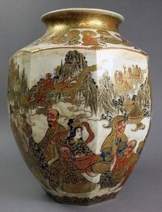 Japanese Hand-Painted Moriage and Gold Gilt Satsuma Vase, Early 19th Century 4
