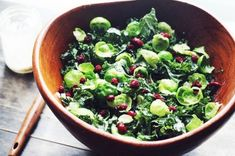 This salad makes use of crunchy, nearly-raw brussels sprouts in addition to kale for a winter salad full of fresh flavors.
