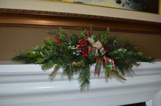 Rustic Pine Garland, Rustic Berry Garland, Fireplace Garland by TheBloomingWreath on Etsy Pine Garland, Berry Garland, Christmas Wreaths, Christmas Decorations, Holiday Decor, Fireplace Garland, Berries, Rustic, Creative