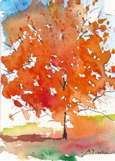 Small format No.12 - Autumn tree 3 of 4 - limited edition of 50 fine art prints form original watercolor painting by WaterWorksbySumiyo on Etsy https://www.etsy.com/uk/listing/200484756/small-format-no12-autumn-tree-3-of-4