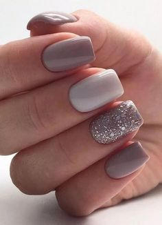 15 Gorgeous Square Nail Designs To Copy : Glitter Feature Nail Square Nails Get some nail inspiration for your next manicure with these gorgeous square nail designs that you will want to copy. Square Nail Designs, Short Nail Designs, Acrylic Nail Designs, Nail Designs For Spring, Nail Design For Short Nails, Glitter Nail Designs, Simple Nail Design, Elegant Nail Designs, Pretty Nail Designs